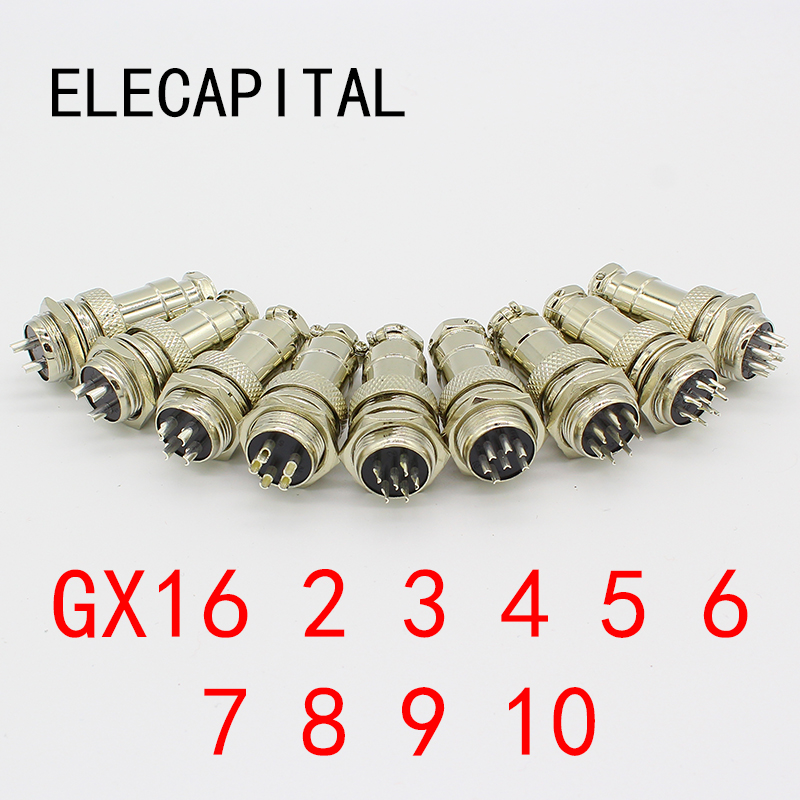 1set GX16-2/3/4/5/6/7/8/9 Pin Male & Female Diameter 16mm Wire Panel Connector GX16 Circular Connector Aviation Socket Plug 1set gx12 2 3 4 5 6 7 pin male female 12mm wire panel connector aviation connector plug circular socket plug with cap lid