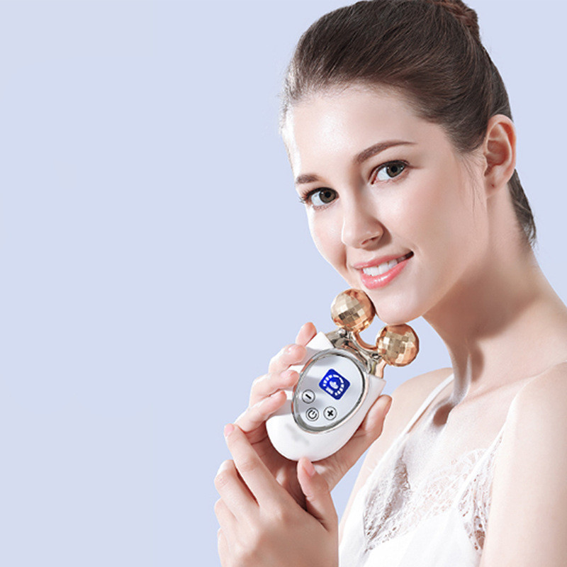 High-end electric skin lift beauty face instrument microcurrent slimming roller massager thin rechargeable