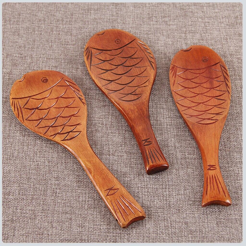 Лучшие продажи деревянная рыба узор рисовая пища кухонная Ложка инструменты посуда лопатка кухонные аксессуары кухонные инструменты