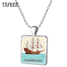 TAFREE Columbus Day Square Necklace Italian Navigator Colombo Glass Dome pendant Handmade Silver Plated Necklaces Jewelry CO02(China)