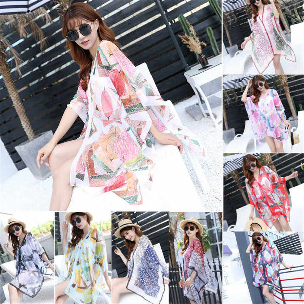 Bikini Cover Up Hot Vrouwen Kimono Zonneplek Strand Cover-up Chiffon Badmode Zomer Wrap Vest Bloemenprint Mode Badpak