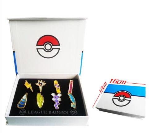 Pokemon B/W2 Unova 8 Metal League Badge Pin Pip Gen 5 Cosplay Prop Collection Set 8*badges+Box