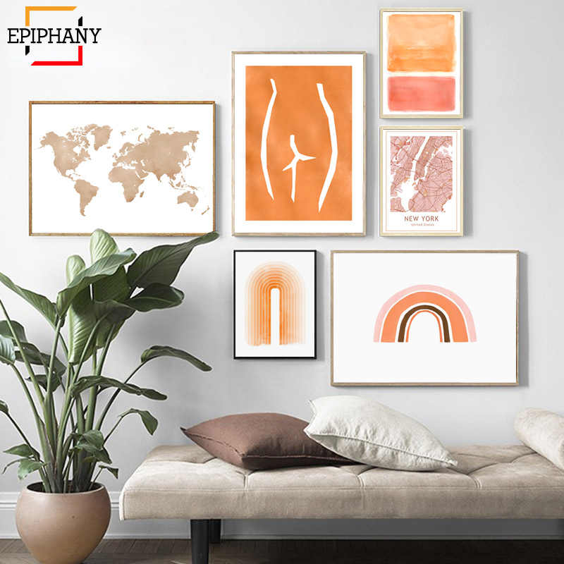 Modern Abstract Gallery Wall Art Orange Rainbow World Map New York City Posters Scandinavian Decor Wall Pictures for Living Room