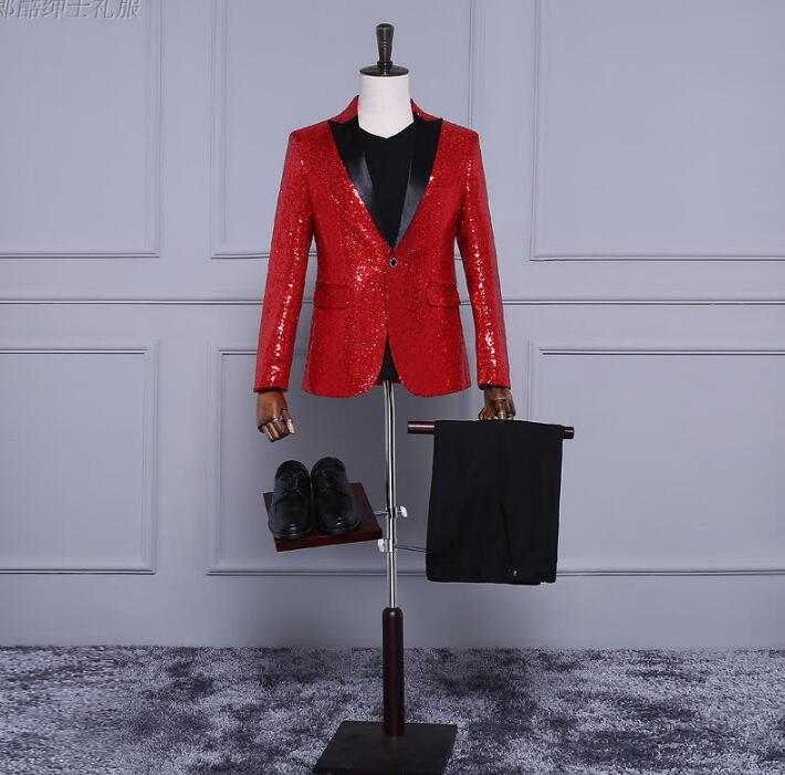 Red Blue Gold Men Blazer Designs Masculino Homme Terno Stage Costumes For Singers Men Sequin Blazer Dance Clothes Jacket Dress