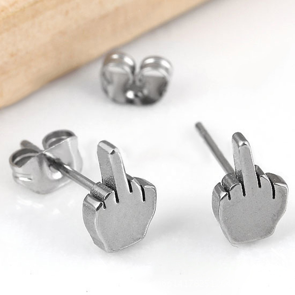 The Middle Finger Design Stud Earrings Unisex Punk Stainless Steel Earrings Fine Jewelry Gifts CX17