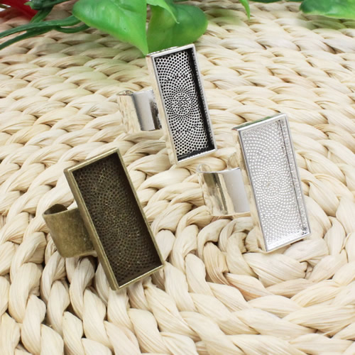 10x25mm Inner Size Ring Metal Copper Rectangle Blank Setting Bezel Blank Cabochon Ring Base For DIY Ring 5pcs/lot K02547