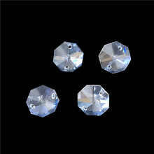 ¡Venta caliente de Fedex envío gratis! Con cuentas octagonales de cristal de 4000 unids/lote de 14mm con 2 orificios, Color transparente