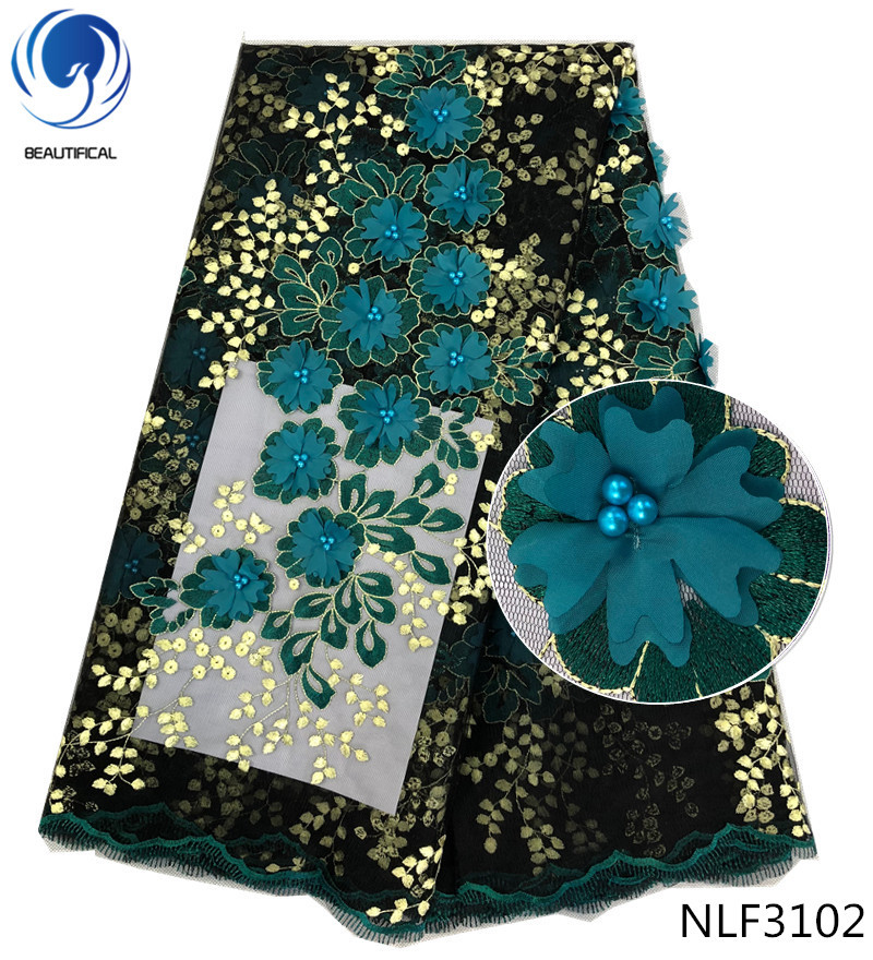 BEAUTIFICAL African lace fabrics army green 3d flowers tulle lace fabric with beads Fashion appliques net lace for dress NLF31 in Lace from Home Garden