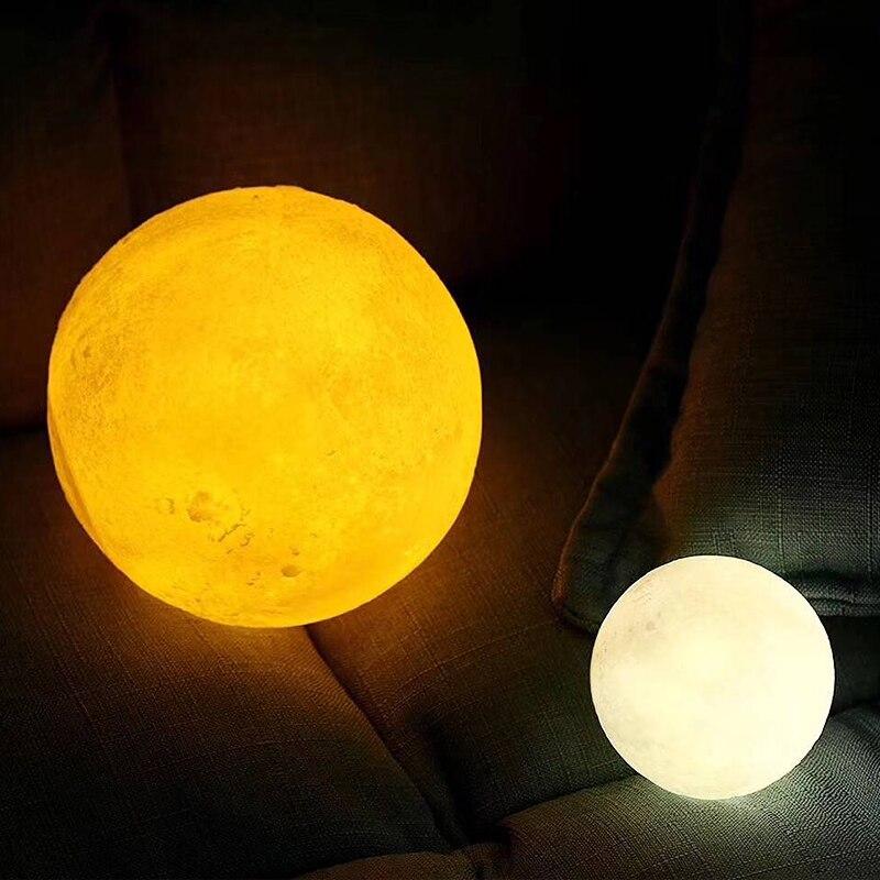 24 cm grande lune lampe USB vacances atmosphère décorative dormir table lampe tactile chevet enfants bébé lumière créative cadeau chargeable