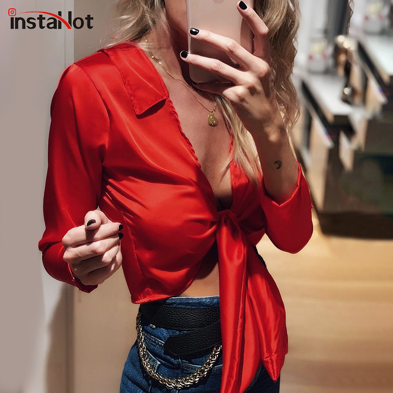 InstaHot Satin Silk Blouse Women Elegant Red Black Long Sleeve Cropped Top Office Lady Solid Autumn Sexy Streetwear Tops