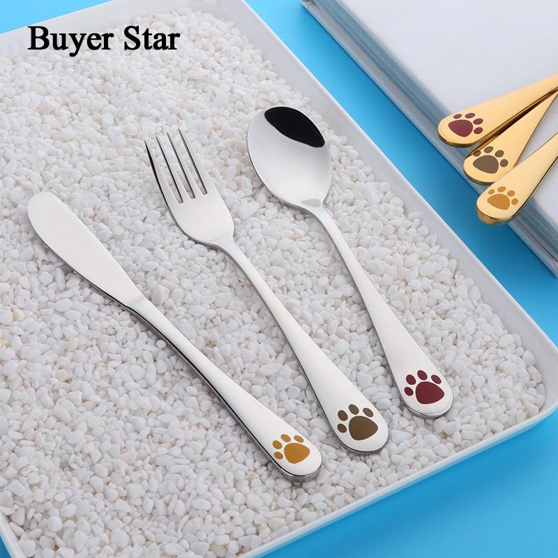 3 pcs Quality Kids Dinnerware Set Children Tableware Animal printing Cutlery Set Knives Forks Food Stainless Steel Dining Set