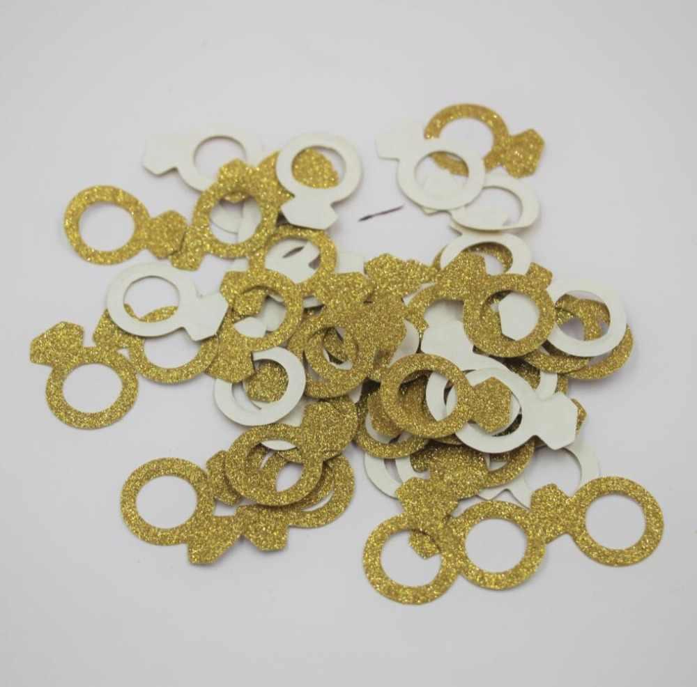 200 pièces bague de diamant de fête de fiançailles, confettis de la saint-valentin, confettis en or pailleté, fournitures de fête de mariée