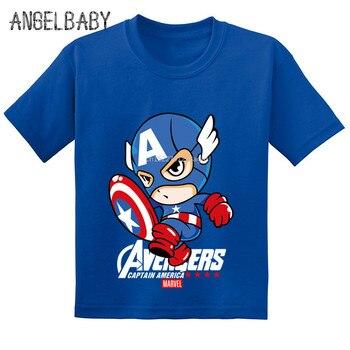 36a90b717 Vengadores Capitán América Super héroe niños camisetas de dibujos animados  de verano de los niños de algodón bebé camiseta niños niñas Tops Tees  ¡GKT225
