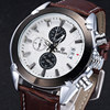 MEGIR Men Chronograph Quartz Watch Large Dial Leather Slim Watches Multi Function Fashion Casual Waterproof Wristwatches
