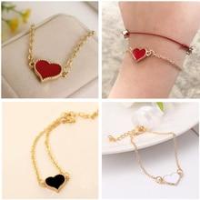SL01 Charming Red Love Heart Bracelets & Bangles For Women Girls Gold Color Metal Bracelets Hot Sale Statement Jewelry Wholesale