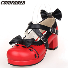 2016 Cross Strap Pumps 6.5cm Heels For Women PU Leather Fashion Casual Buckle Strap Round Toe Sweet Thick Heels Bow Shoes