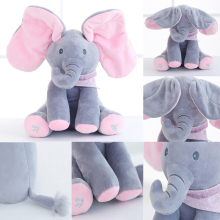Peek A Boo Stuffed Elephant Pillow Toy Plush Electric Baby Dolls Singing Move Ears Appease Education Toys For Children Juguetes