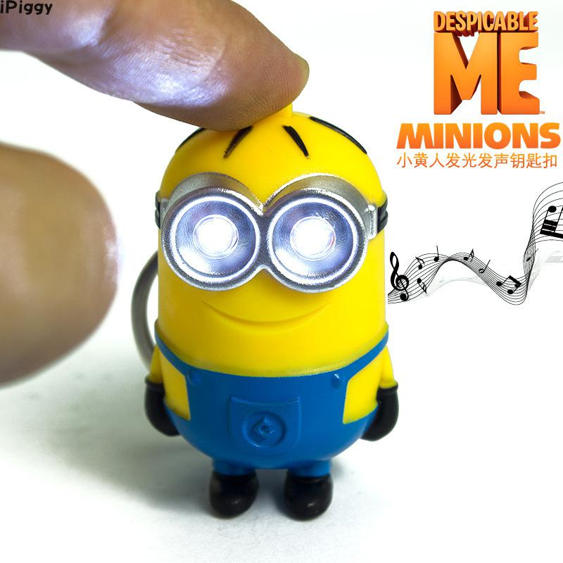 IPiggy New Arrive 3D Minions LED Keychain Talk Minions Flashlight Keyring With Sound Gift For Lovers Car Bag Pandent