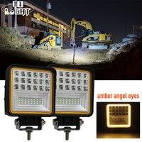 63W Fog Light Led 3000K Amber Angel Eyes Led Work Lights For 4Wd 4X4 Gmc Dacia