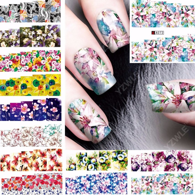 12 sheets beauty colorful flower design nail art water transfer 12 sheets beauty colorful flower design nail art water transfer decals nail sticker slider tattoo nail prinsesfo Image collections
