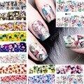2017 Belleza 12 hojas Colorful flower Designs Nail Art Transferencia de Agua Stickers Decals completa Accesorios de Uñas de manicura herramientas 072