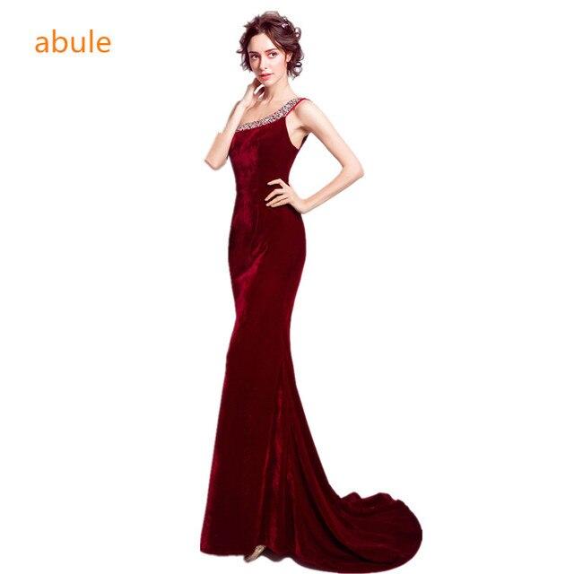 6aabf898dd0 Abule scoop короткий шлейф Длинные вечерние платья Русалка Выпускные платья  Вечерние платья красное вино велюровый Халат