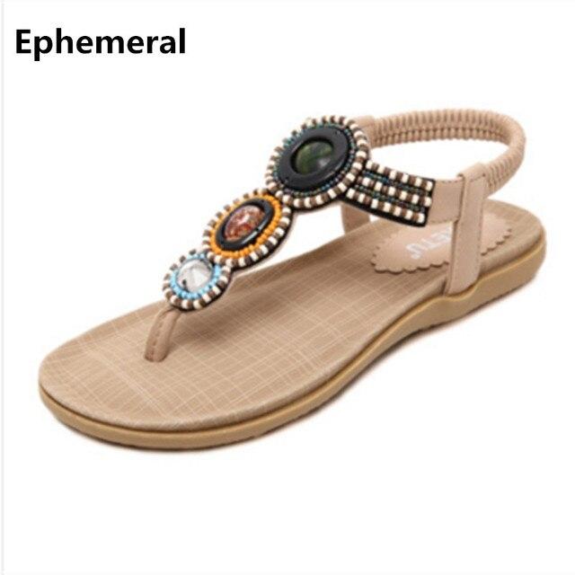 f1849a6df358 Ethnic black sandals beading shoes women open toe elastic band summer beach  footwear for ladies spongy flat flip flops size 11 9