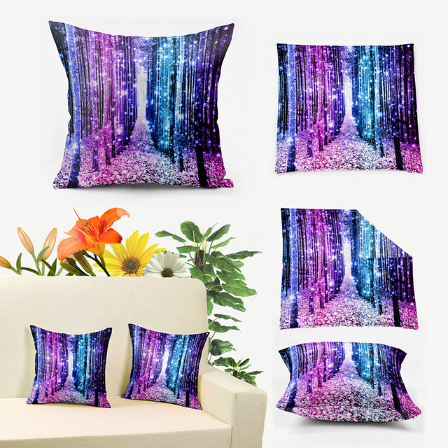 7 Colors Magical Forest Aqua Periwinkle Blue Ombre Sparkle Lavender Light Home Decor Throw Pillows Cushion