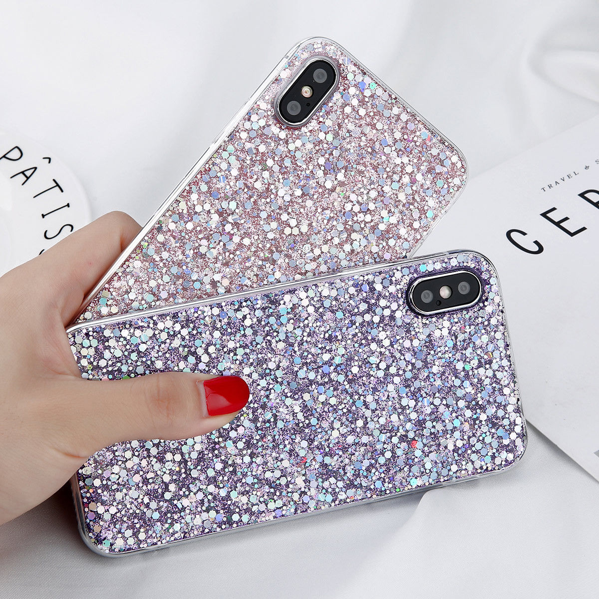 YISHANGOU Bling Glitter Sparkle Phone Case For iPhone X 10 8 Plus Soft TPU Silicone Shockproof Back Cover For iPhone 6 6S 7 Plus