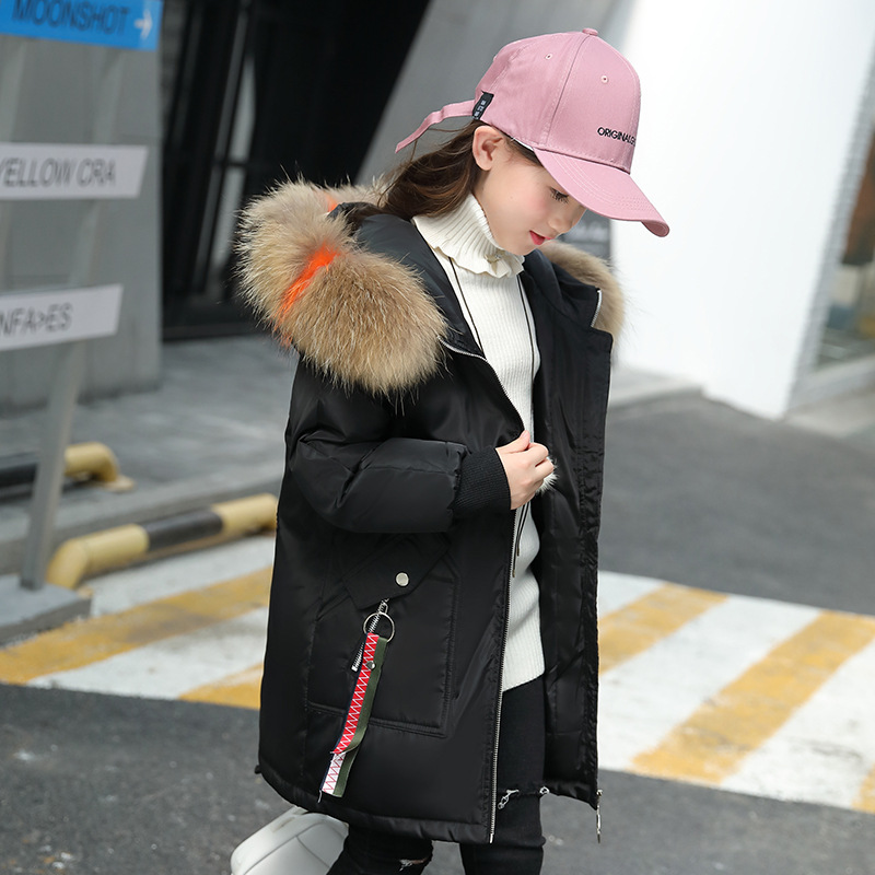 Girls Down Coat 2018 Winter Parkas Jackets For Kids Thick Nature Fur Collar Hooded Coat White Duck Down Padded Snowsuits 8 10 12 цена