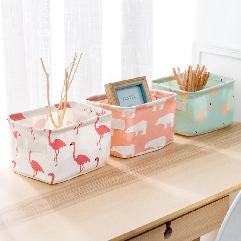 1pc Cotton Stationery Storage Basket Pencil Desktop Storage Box Flamingo Magazine Notebook Pen Holder