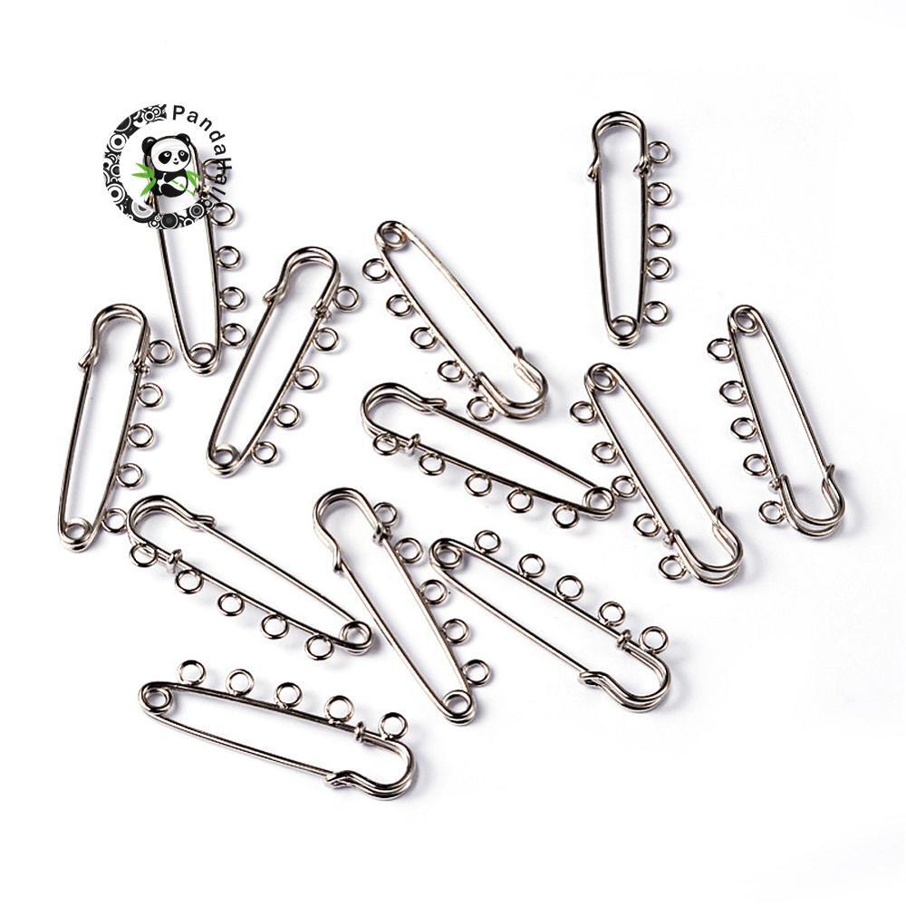 200pcs 5 holes 16x50mm Iron Metal Kilt Pins Bijoux Garment Brooch Accessriess Jewelry Making DIY Finding, Metal Color, hole: 3mm