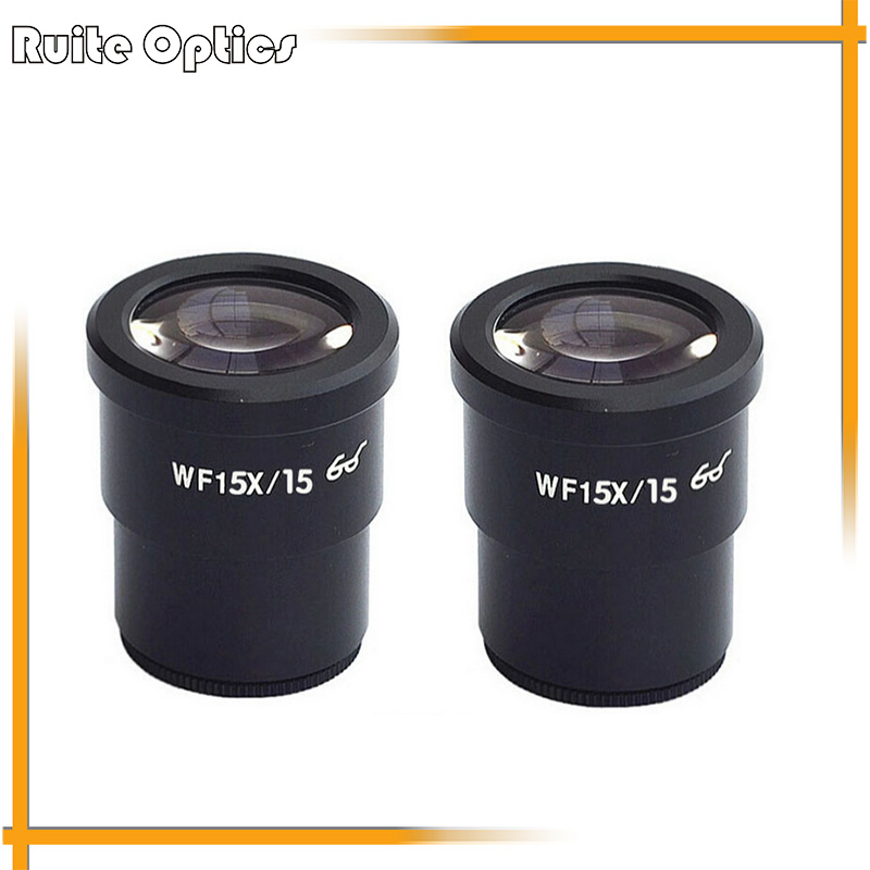 ФОТО 15x  High Eye Point Microscopes Eyepiece Wide Field WF15X 15mm Stereo Microscope Eyepieces Mounting Size 30MM