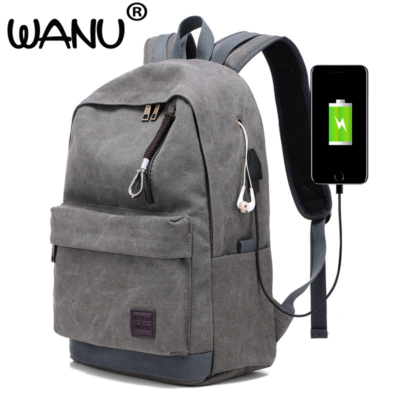 Fashion waterproof canvas men backpacks College Student school male backpack high quality with USB and Earphone hole backpack ozuko multi functional men backpack waterproof usb charge computer backpacks 15inch laptop bag creative student school bags 2018