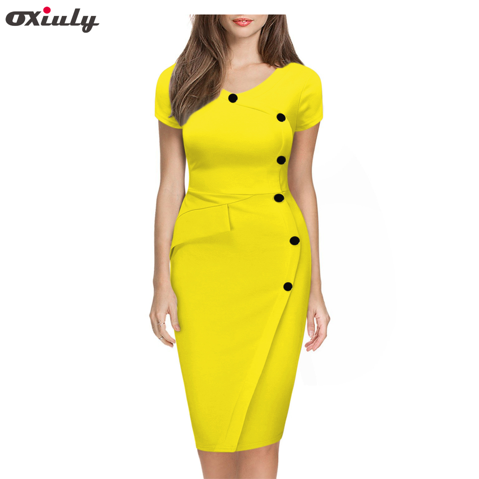 Oxiuly 2018 Summer Women Solid Black White Orange Green Dresses Casual O-Neck Bodycon Knee-Length Dress no Belt