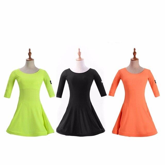 eedf12756 Calidad Superior vestido de Danza Latina para la niña negro naranja Lycra  niños verano elástico Maxi