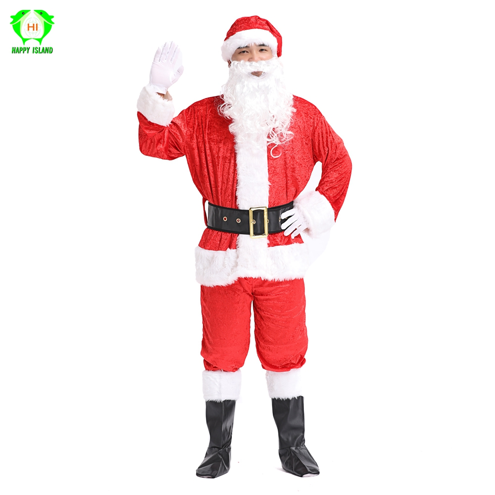 7 in 1 Full Set Adult Christmas Cosplay Costumes Santa Claus Costume for Men Red Luxury Suit Christmas Party Costume for Women
