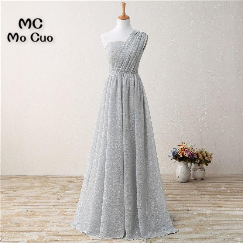 Grey 2017   Bridesmaid     Dresses   Long One Shoulder Pleat Draped wedding Guest Party   dress   Formal   Bridesmaid     Dress