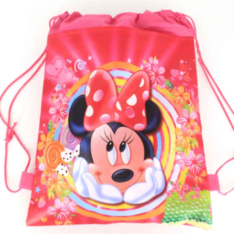 1 قطعة ميني ماوس حفلة الرباط حقيبة فتاة السفر حقيبة المدرسة طفل عيد ميلاد الطفل دش غير المنسوجة شنطة هدايا لوازم
