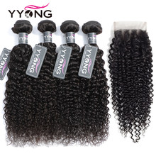 Yyong Peruvian Kinky Curly Weave 4 Bundles With Closure 100% Human Hair Bundles With Medium Brown Swiss Lace Closure Non Remy(China)