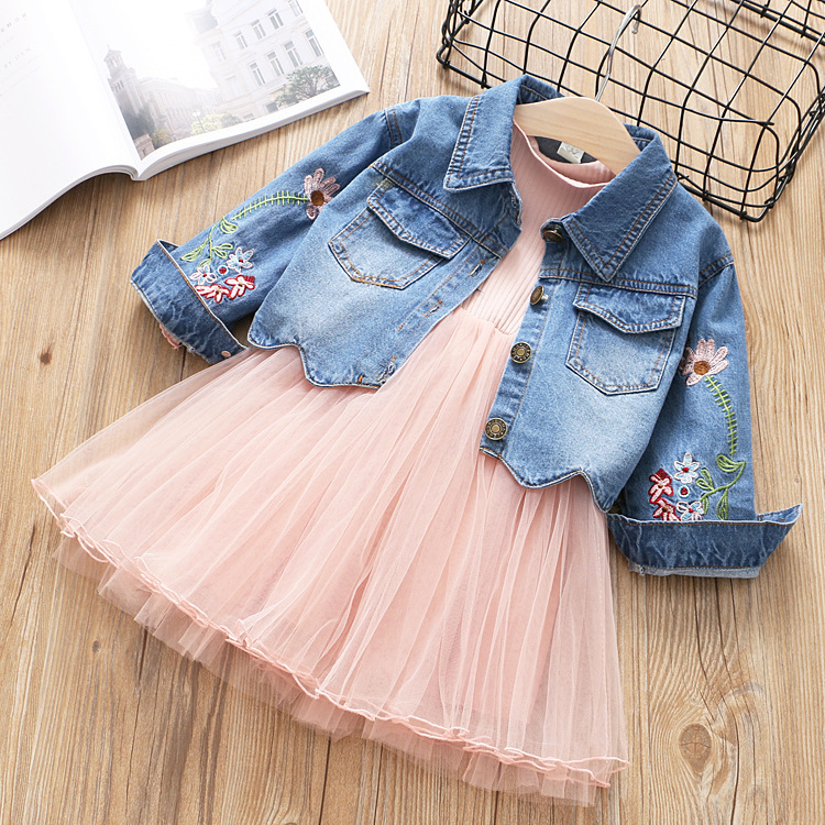 girls clothing 2018 new spring summer kids clothes sets for girls top floral printed denim jackets+patchwork mesh dress 2pcs fashion autumn girl clothing sets denim outfits girls clothes sets jeans jackets shirt patchwork dress 2pcs suits with necklace