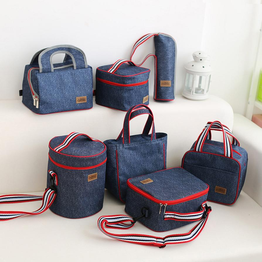 2018 fashion Portable Oxford Canvas lunch Bag Thermal Food Picnic Lunch Bags for Women kids Men Cooler Lunch Box BagTotex3611