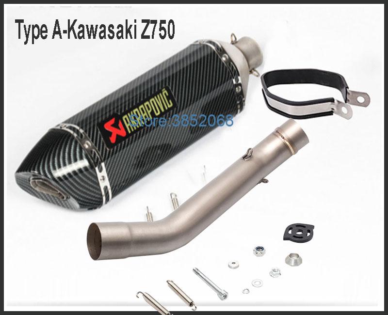 Tuyau de lien de tuyau d'échappement de moto Akrapovic adapté pour le système d'échappement de moto de couleur de carbone de pointe de Fiber de carbone de Kawasaki Z750