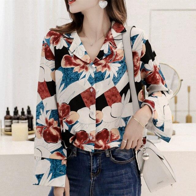 2018 blusas florales de mujer camisa de manga larga Camisas de mujer Casual señoras rojo amarillo Tops acuarela pintura blusa talla grande M-4XL