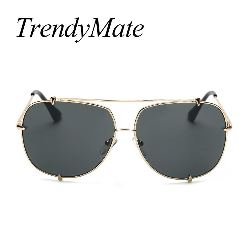2017 Men Brand Designer Vintage Pilot Sun Glasses for Male Oversized Shades Retro Female Steampunk Sunglasses Gafas Oculos 485M 4