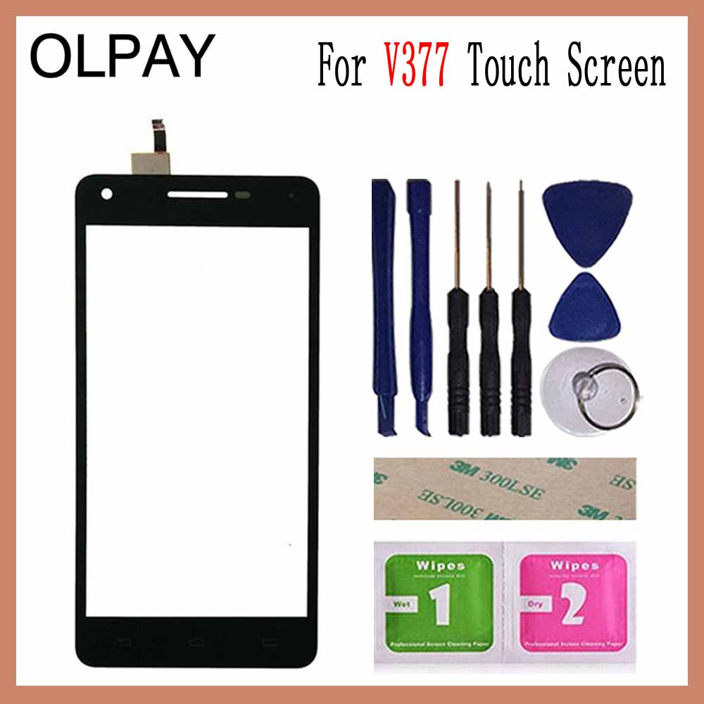 OLPAY 5.0'' Touch Screen For Philips V377 V 377 Touch Screen Digitizer Panel Front Glass Lens Sensor Tools Adhesive+Wipes
