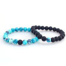 Retro Blue Beads Frosted Beads Combination Beaded Bracelet Men and Women Couple Bracelet Natural Stone Yoga Bracelet for Women(China)