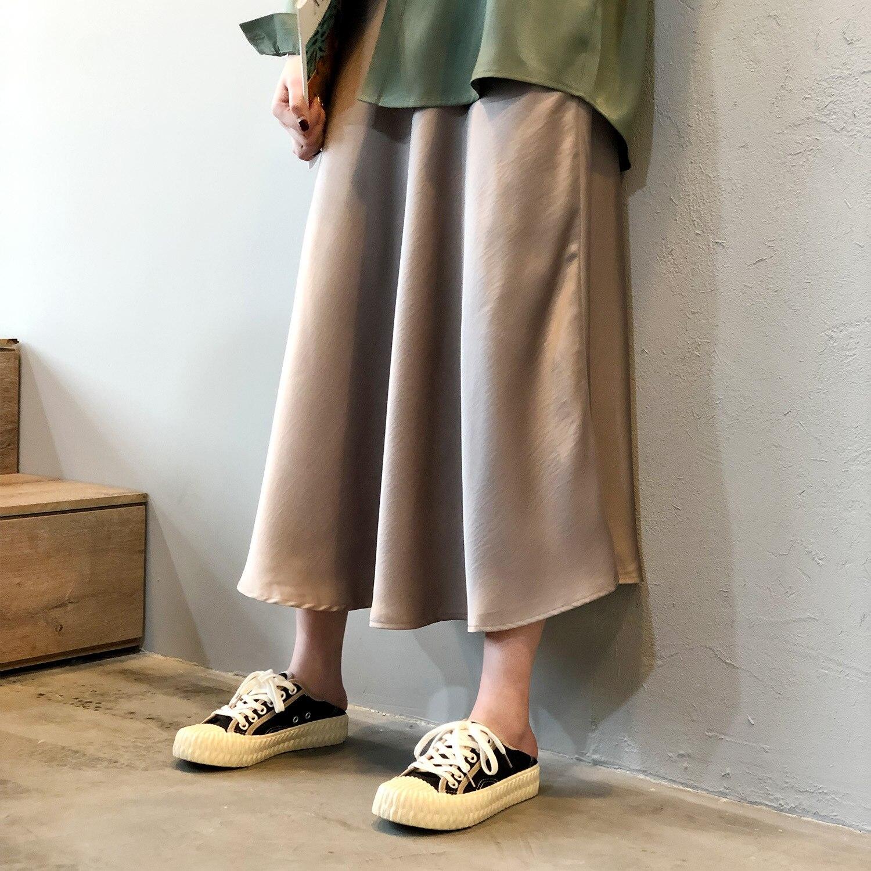 19 Spring Simmer Women High Waist Satin Skirt Metallic Color Long Skirt Shiny Silk Imitation Midi Skirt 10
