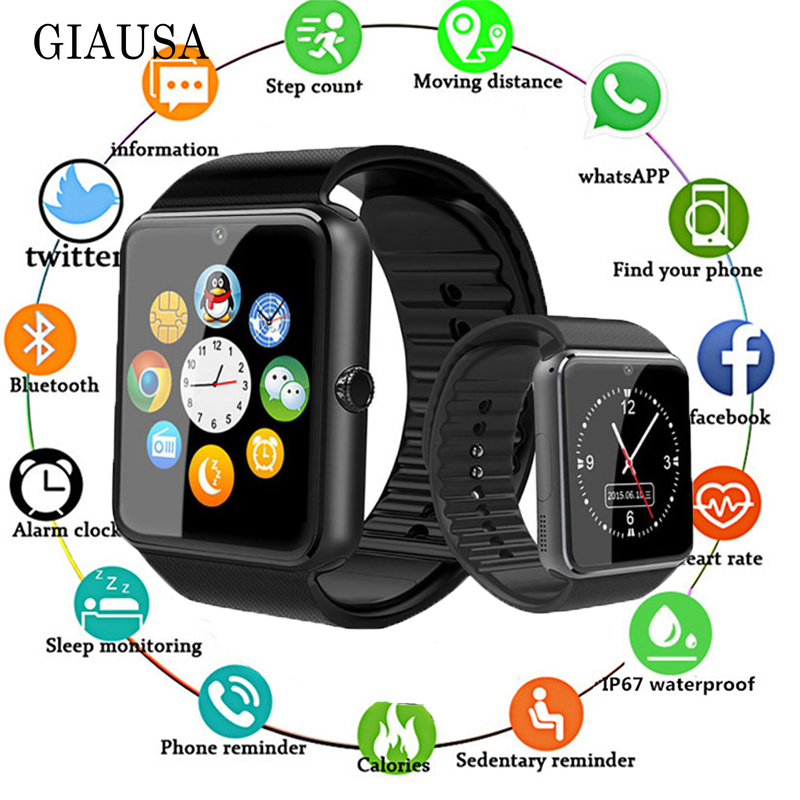 Bluetooth GT08 Smart Watch Touch Screen Big Battery Clock Support TF Sim Card Camera Smartwatch For IOS IPhone Android Phone Z60