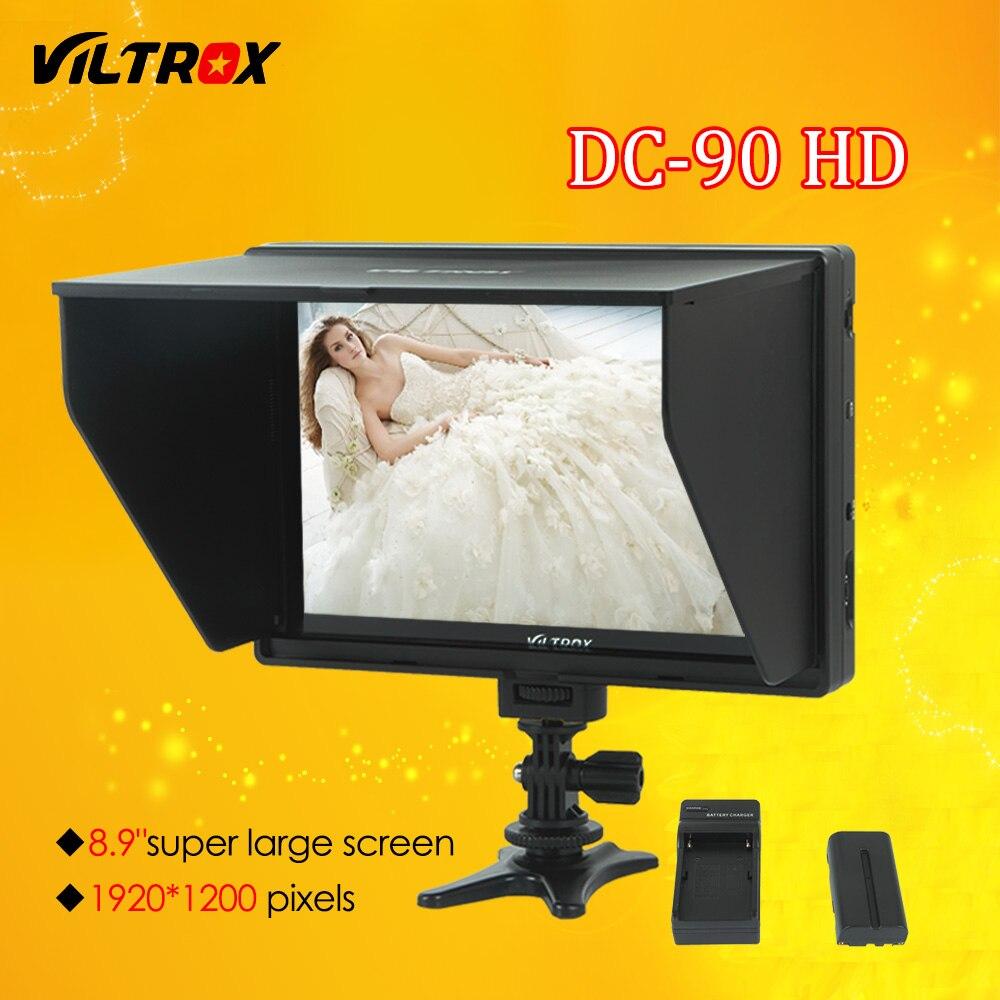 Viltrox DC-90 HD 8.9 ''Super Grande Schermo LCD HDMI AV Camera Video Monitor Display + Batteria + Caricabatterie per Canon Nikon DSLR BMPCC